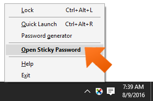 Open Sticky Password Main window