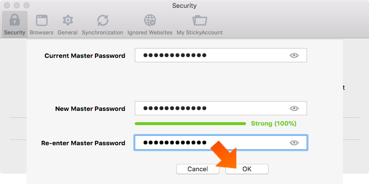 Enter your current Master Password, create your new Master Password and click OK.