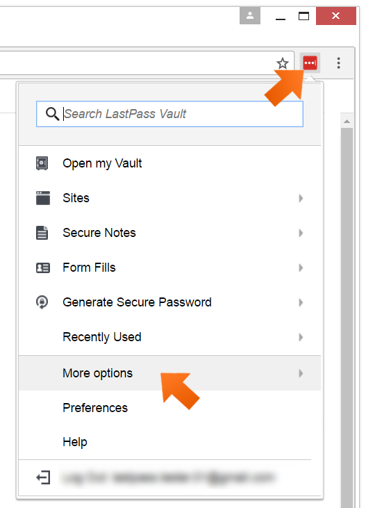 Click Lastpass icon and select More Options.