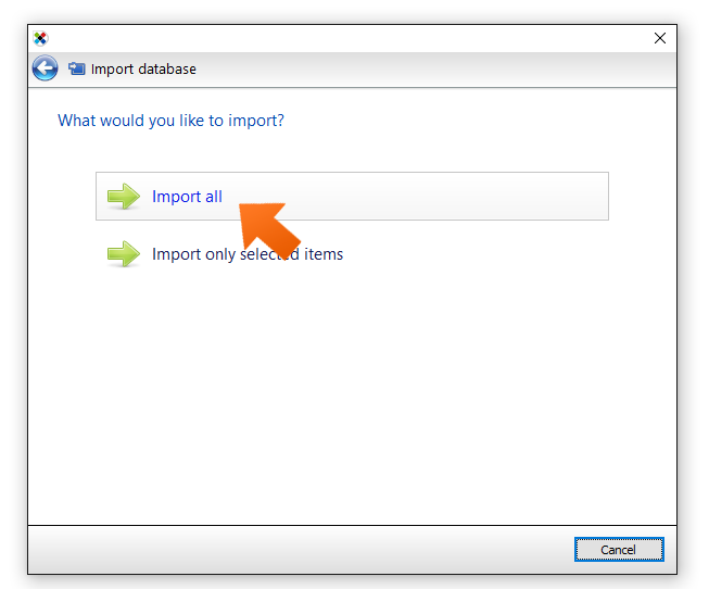 Click import all.