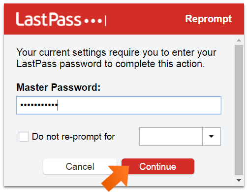 Enter your Lastpass Master Password and click Continue