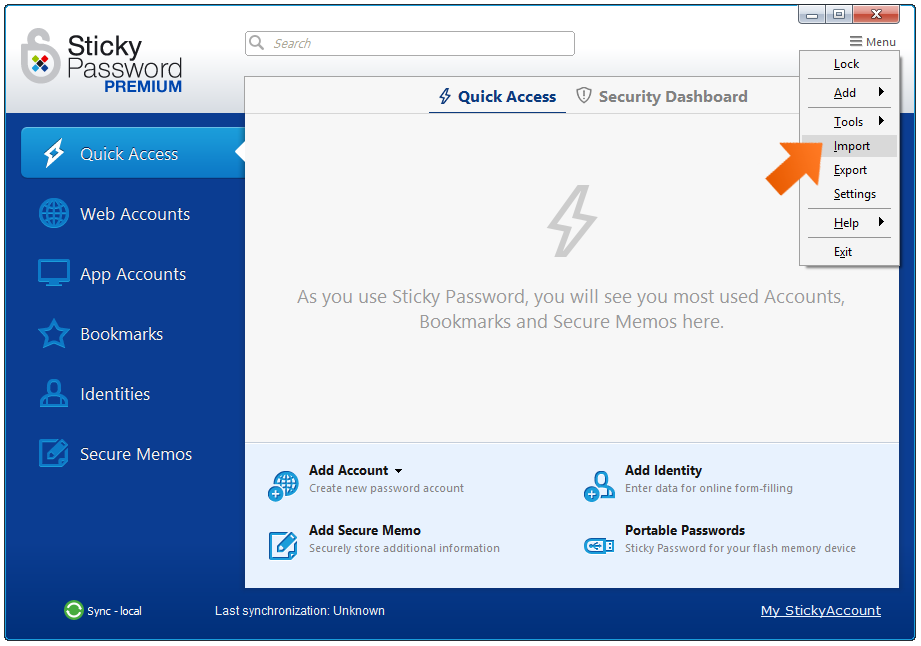 Select Menu - Import