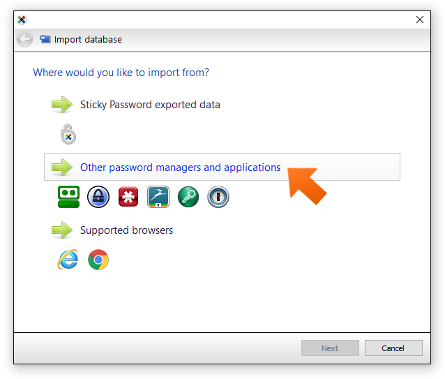 Click other password managers.