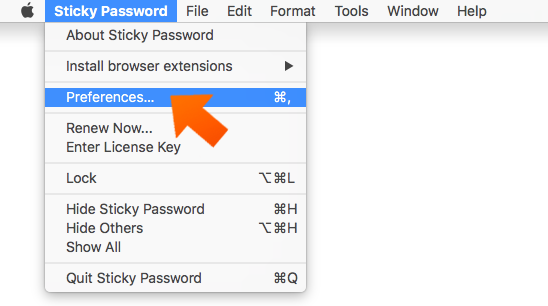 How to set up Sticky Password autolock on Mac - open Preferences.