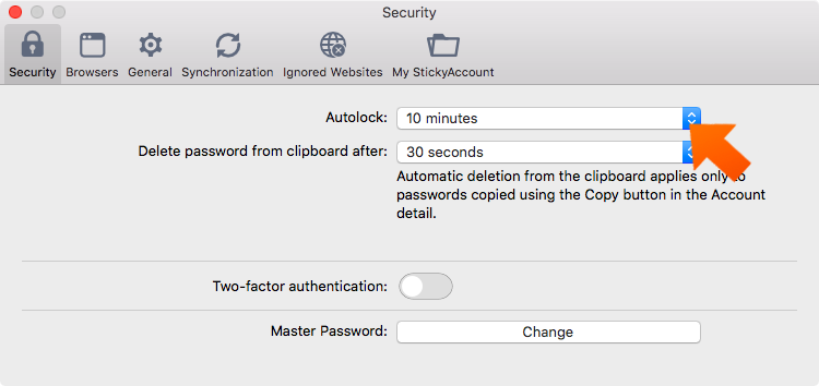 How to set up Sticky Password autolock on Mac - the defailt option for Autolock is 10 minutes.