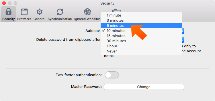 How to set up Sticky Password autolock on Mac - select your preferred time.