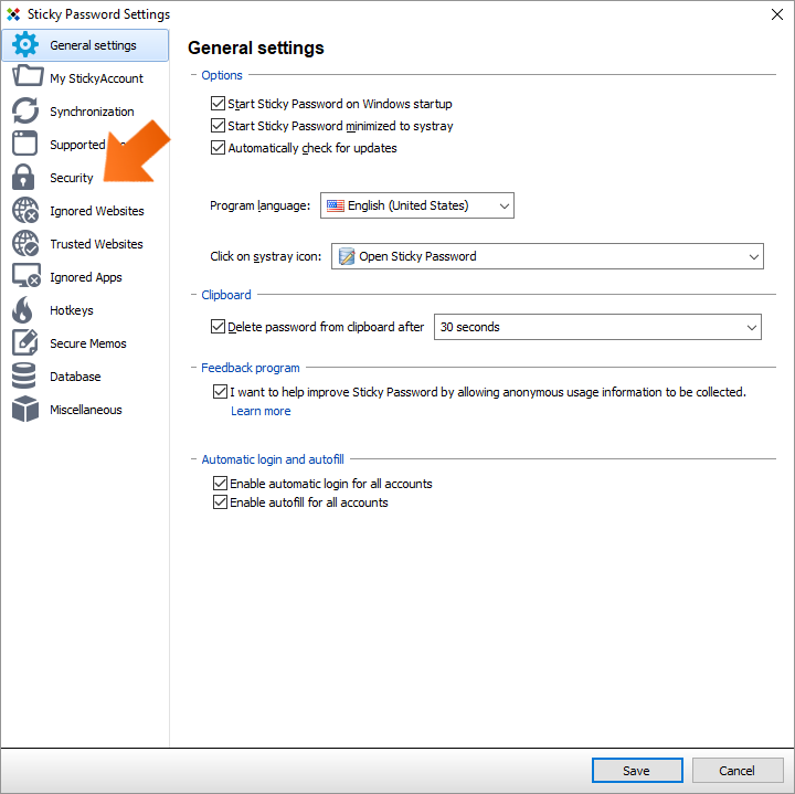 How to change your Master Password on Windows - click Security.