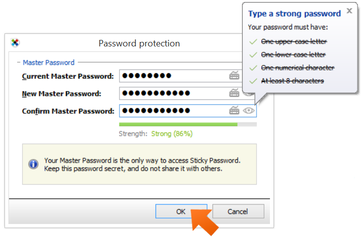 Enter a new password and click OK.