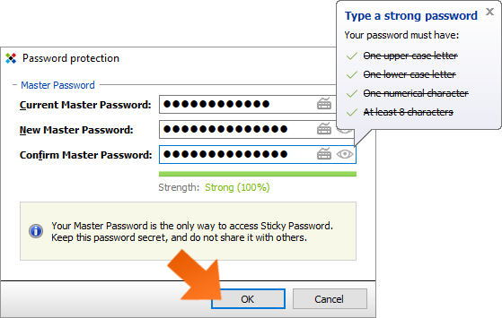 How to change your Master Password on Windows - create a new Master Password and click OK.