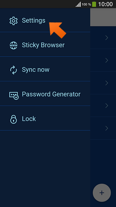 How to set up Sticky Password autolock on Android - tap Settings.