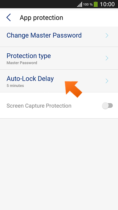 How to set up Sticky Password autolock on Android - tap Auto-Lock Delay.