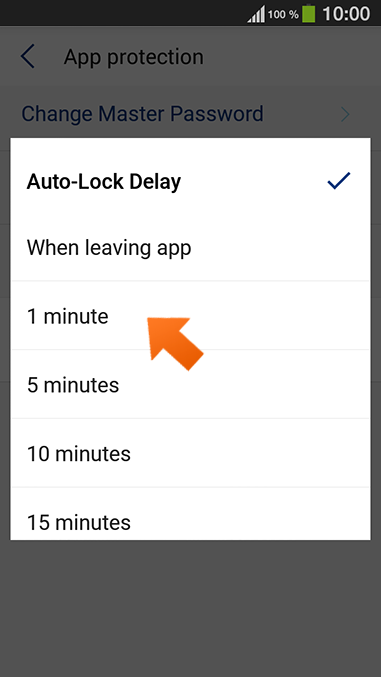 How to set up Sticky Password autolock on Android - select the appropriate option and tap Done.