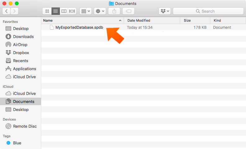 Exporting Your Database Securely on Mac - database was serucely exported.