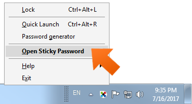 Open Sticky Password.