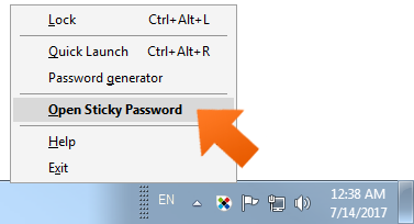 Open Sticky Password