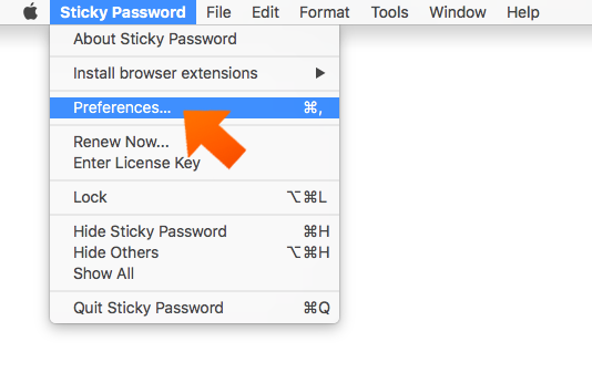 Installing the Sticky Password Extension for Firefox on Mac - open Sticky Password preferences