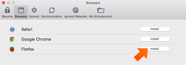 Installing the Sticky Password Extension for Firefox on Mac - click Install