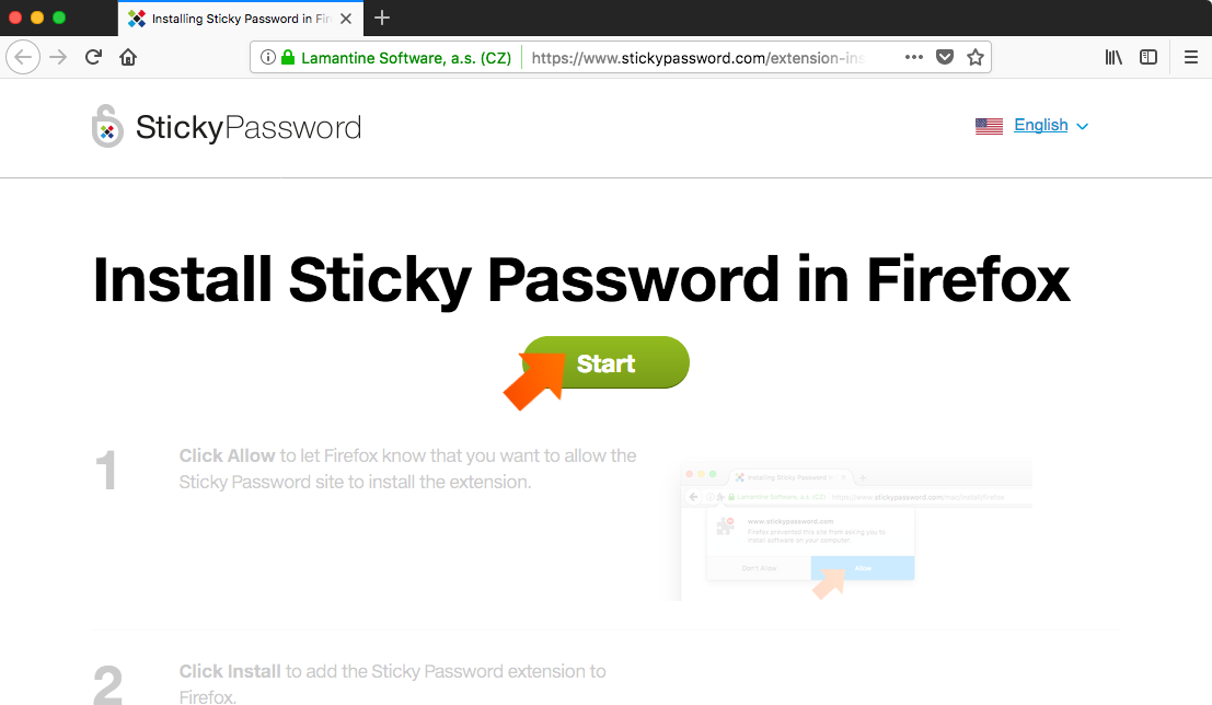 Installing the Sticky Password Extension for Firefox on Mac - click Start button.