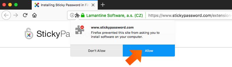 Installing the Sticky Password Extension for Firefox on Mac - click Allow.
