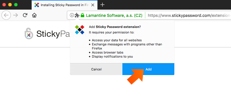 Installing the Sticky Password Extension for Firefox on Mac - click Add.