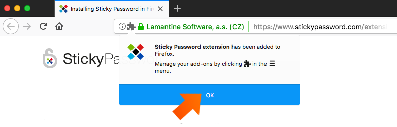 Installing the Sticky Password Extension for Firefox on Mac - Click OK.
