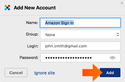 How to Add a Web Account on Mac - Click Add.