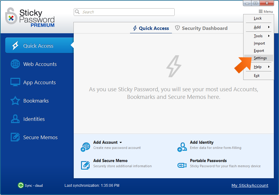 Installing the Sticky Password extension for Firefox on Windows - click Menu and select Settings.