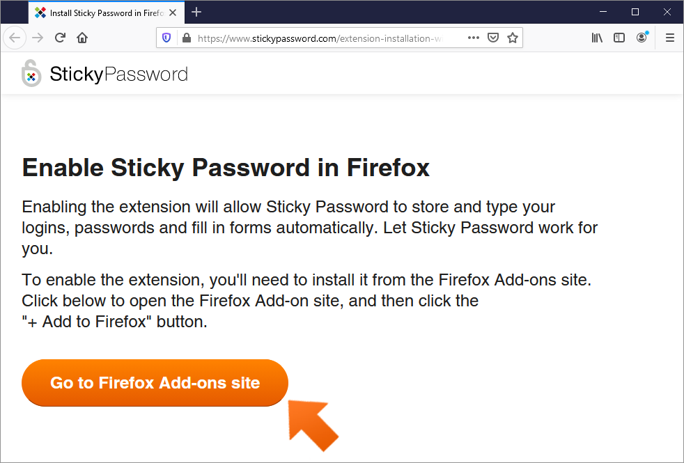 How to install the Sticky Password extension for Firefox on Windows? - Click Go to Firefox Add-ons site