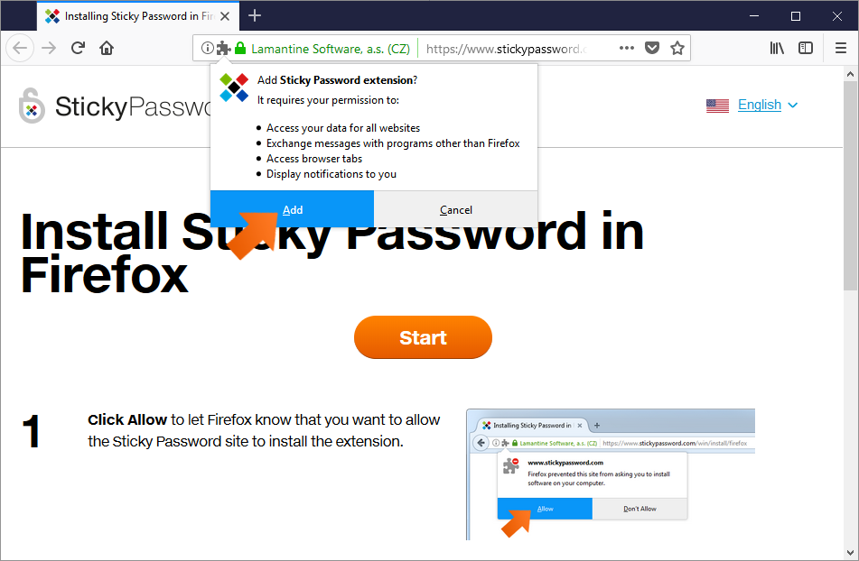 Installing the Sticky Password extension for Firefox on Windows - click Add.