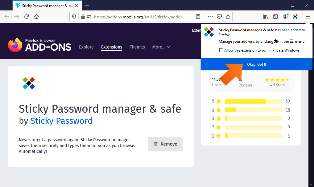 How to install the Sticky Password extension for Firefox on Windows - Click Okay.