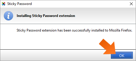 Installing the Sticky Password extension for Firefox on Windows - click OK.