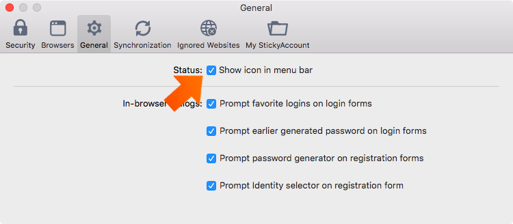 How to set up general preferences on your Mac - show icon in menu bar.