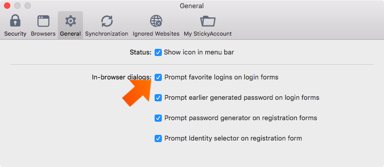 How to set up general preferences on your Mac - prompt favorite logins in login forms.