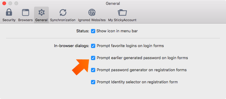 How to set up general preferences on your Mac - prompt earlier generated password in login forms.