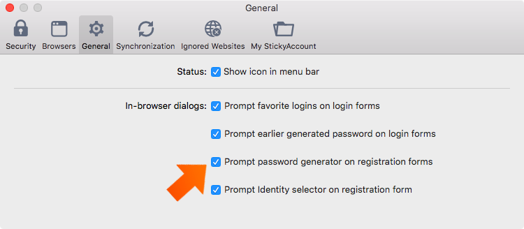 How to set up general preferences on your Mac - prompt password generator in registration forms.