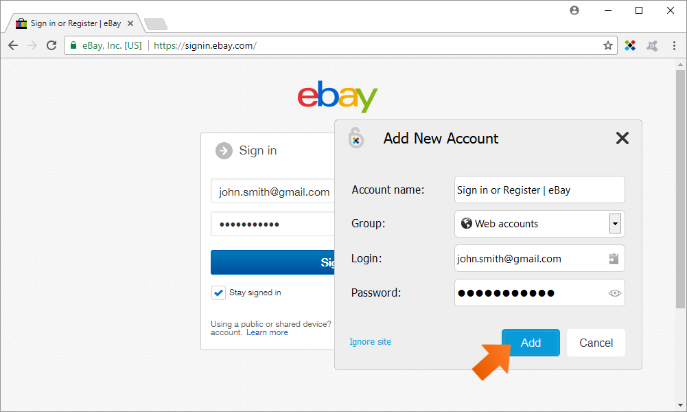 How to add a new Web Account - Click Add.