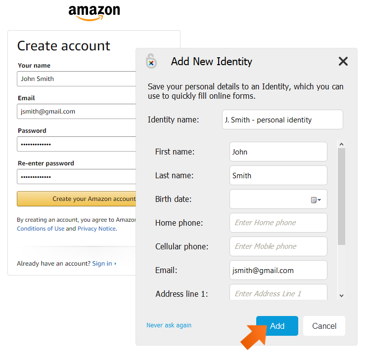 How to add a new Identity - click Add.
