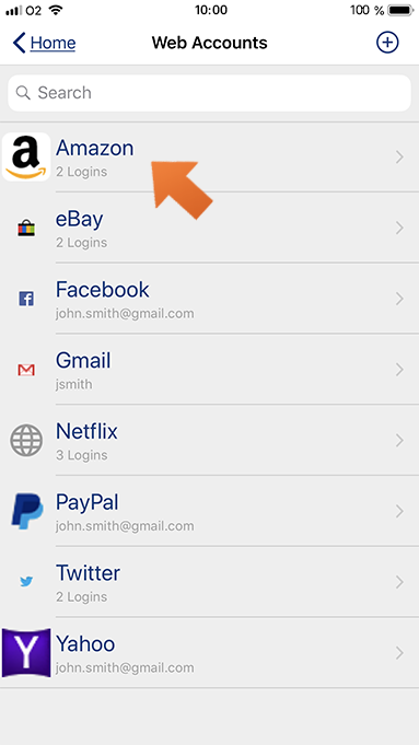 Using autofill with Sticky Browser on your iPhone or iPad - select the account.