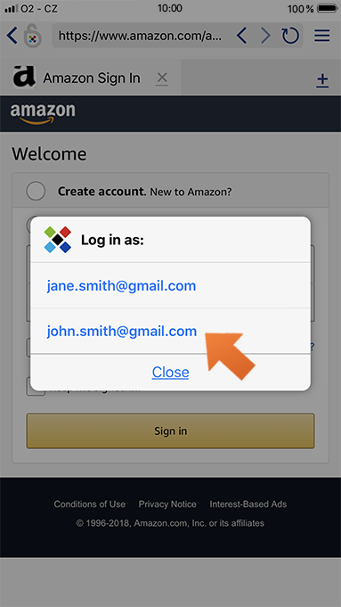 Using autofill with Sticky Browser on your iPhone or iPad - select login.