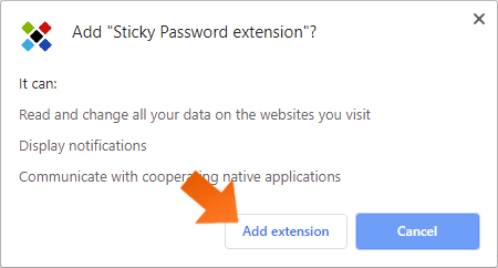 Installing the Sticky Password extension in Chromium-based browsers on Windows - click Add Extension.
