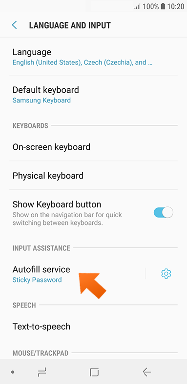 Using Sticky Password to autofill passwords on your Android device - tap autofill service.