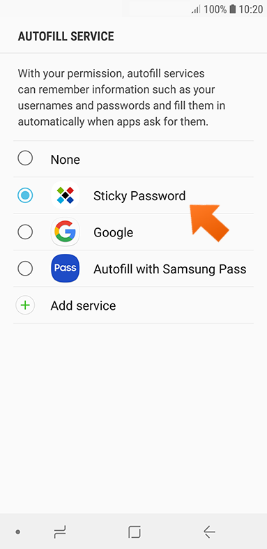 Using Sticky Password to autofill passwords on your Android device - select Sticky Password