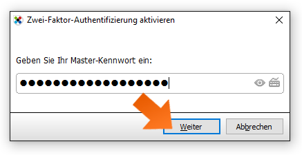 Enabling 2FA - step 4, enter your Master Password.