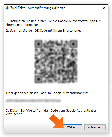 Enabling 2FA - step 5, open the Google Authenticator and scan the QR                  code.