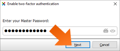 Protect your data with Two-Factor Authentication - enter Master Password and click Next.