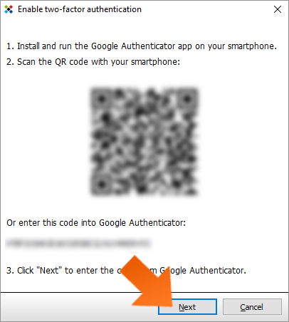 Protect your data with Two-Factor Authentication - scan QR code and click Next.