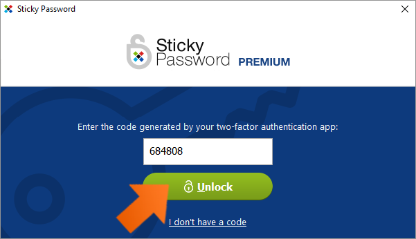 Protect your data with Two-Factor Authentication - enter the code and click Unlock.