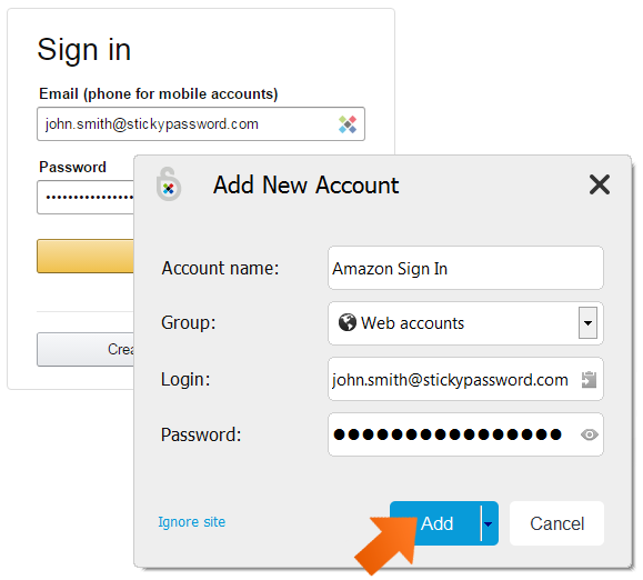 First-time login to a web account - data capture