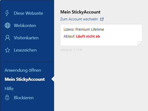 Sticky Password Erweiterungsmenu – Mein StickyAccount.