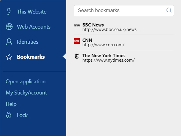 Sticky Password extension menu – Bookmarks tab.